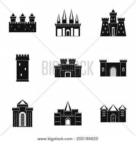 Ancient castles icon set. Simple style set of 9 ancient castles vector icons for web isolated on white background