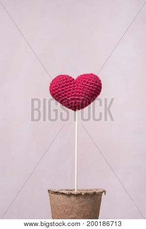 Crocheted heart on a wooden stick in a peat glass