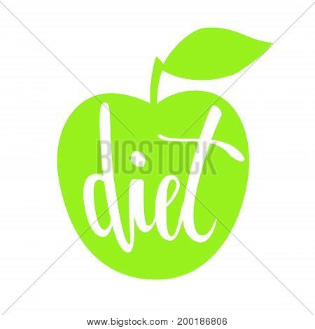 diet. Hand drawn brush pen lettering isolated on silhouette of a green apple isolated on white background. design for holiday greeting card and invitation flyers posters banner.