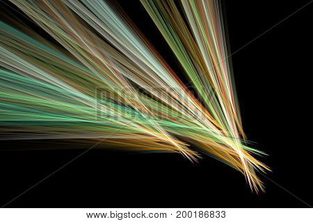 Abstract Colorful Green And Orange Diagonal Stripes On Black Background. Creative Fractal Design. Di