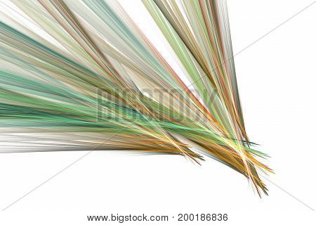 Abstract Colorful Green And Orange Diagonal Stripes On White Background. Creative Fractal Design. Di