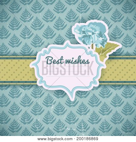 Vintage greeting template with blue flower dotted ribbon frame for text on natural seamless pattern vector illustration