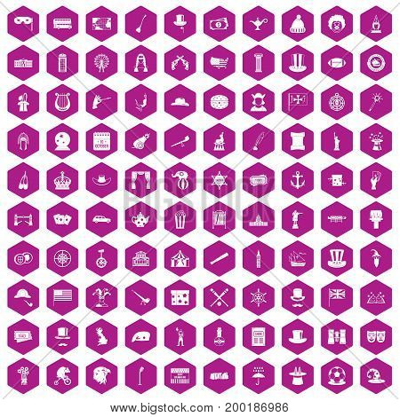 100 top hat icons set in violet hexagon isolated vector illustration