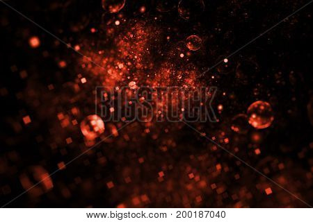 Abstract Colorful Blurred Red Drops On Black Background. Fantasy Fractal Texture. Digital Art. 3D Re