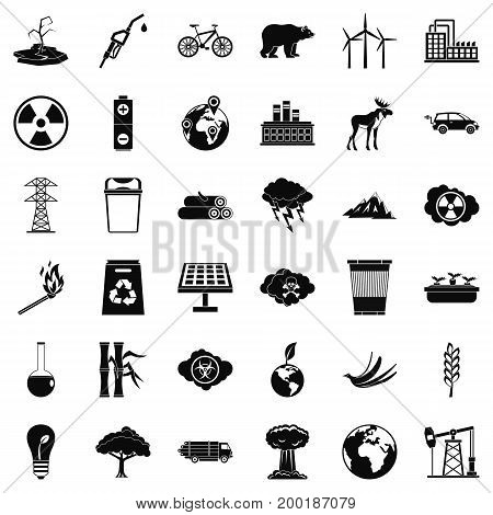 Environmental icons set. Simple style of 36 environmental vector icons for web isolated on white background