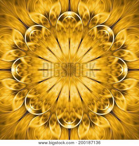 Abstract Exotic Golden Flower. Psychedelic Mandala Design. Fantasy Fractal Art. 3D Rendering.