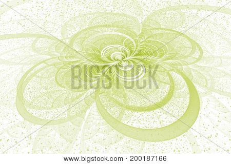 Abstract Exotic Green Flower With Shining Sparks On White Background. Fantastic Fractal Design. Psyc