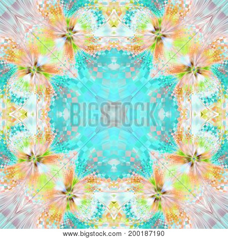 Abstract Exotic Flower. Seamless Mosaic Pattern. Fantastic Symmetrical Fractal Design In Orange, Yel
