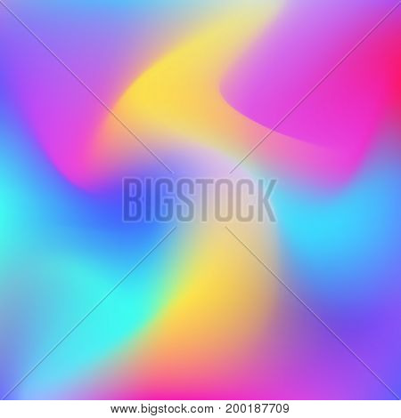 Holographic abstract background. Cosmic surreal texture. Vector illustration in neon colors, 80s 90s trendy style design.