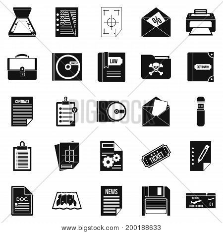 Text icons set. Simple set of 25 text vector icons for web isolated on white background