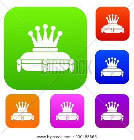 Crown king set icon in different colors isolated vector illustration. Premium collection
