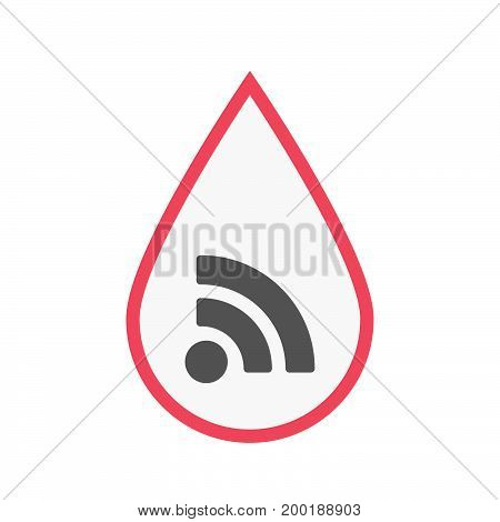 Isolated Blood Drop With An Rss Sign