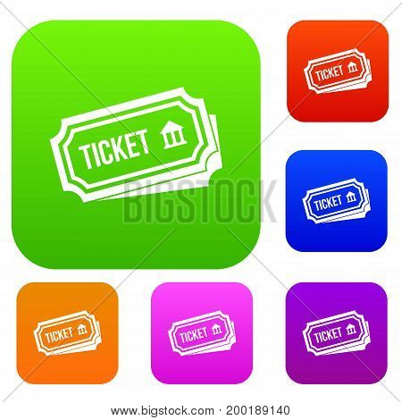 Ticket set icon in different colors isolated vector illustration. Premium collection