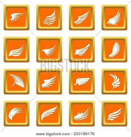 Wing icons set in orange color isolated vector illustration for web and any design