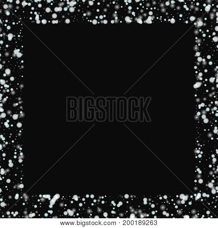Beautiful Falling Snow. Square Scattered Border With Beautiful Falling Snow On Black Background. Vec