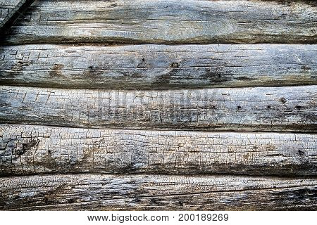 Old weathered natural log wall background texture
