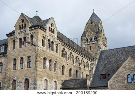 Old house in Koblenz a city situated on both banks of the Rhine at its confluence with the Moselle Germany