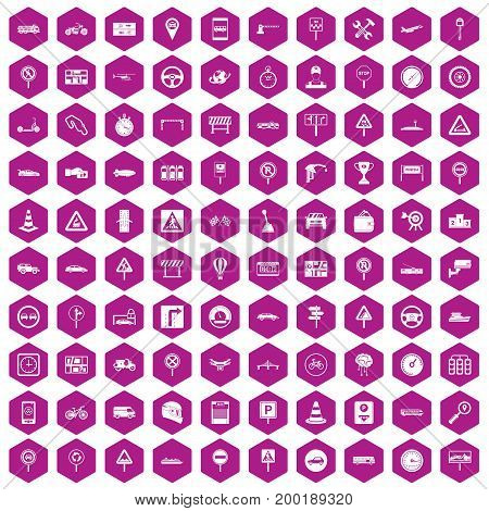 100 traffic icons set in violet hexagon isolated vector illustration