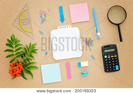 Desk with paper pen calculator magnifier and ruler. Top view flat lay overhead. School or office concept. Copy space background