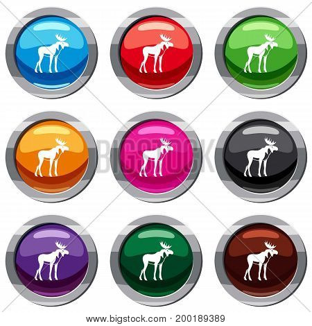Moose set icon isolated on white. 9 icon collection vector illustration