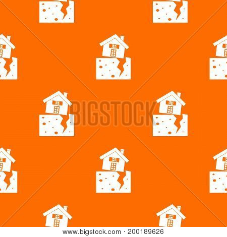 House after an earthquake pattern repeat seamless in orange color for any design. Vector geometric illustration