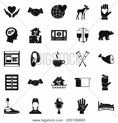 Endowment icons set. Simple set of 25 endowment vector icons for web isolated on white background