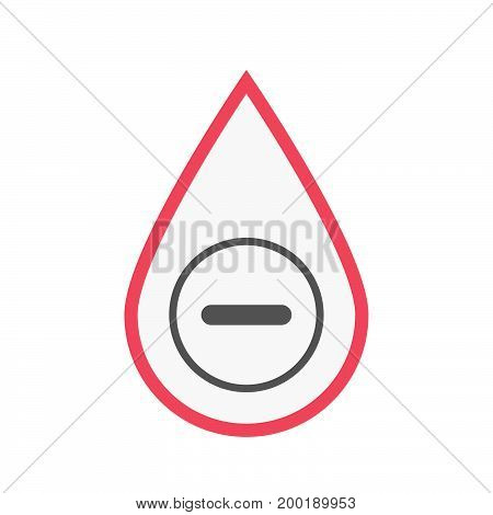 Isolated Blood Drop With A Subtraction Sign