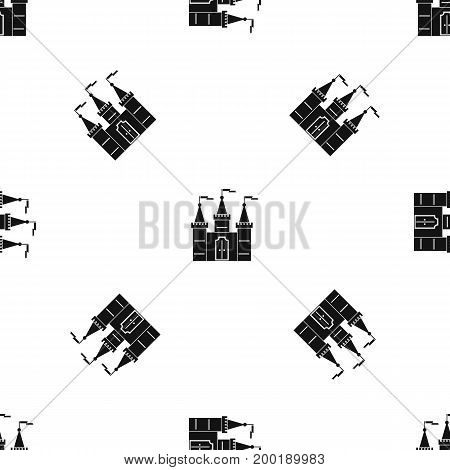 Castle pattern repeat seamless in black color for any design. Vector geometric illustration