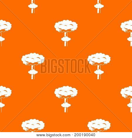 Nuclear explosion pattern repeat seamless in orange color for any design. Vector geometric illustration
