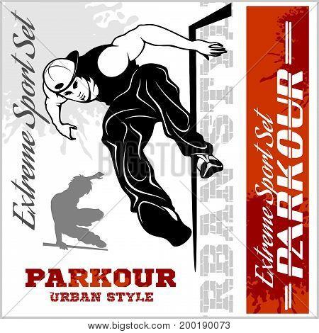 Boy parkour is jumping - illustration and emblem - set of vector images on white