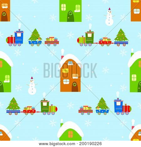 House train christmas seamless pattern vector gift, year, fir, beautiful, trip