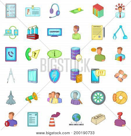 Country economy icons set. Cartoon style of 36 country economy vector icons for web isolated on white background