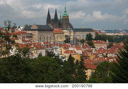 Aerial view of Prague castle and St. Vitus cathedral from Petrin tower