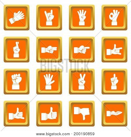 Hand gesture icons set in orange color isolated vector illustration for web and any design