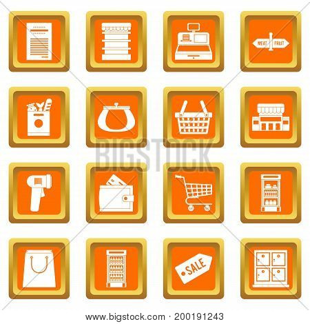 Supermarket icons set in orange color isolated vector illustration for web and any design
