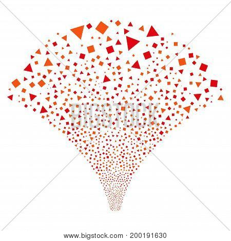 Source stream of triangles and squares icons. Vector illustration style is flat intensive red and orange iconic symbols on a white background. Object fountain combined from scattered symbols.