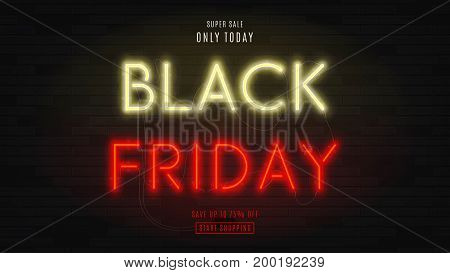 Black Friday sale web banner. Modern neon yellow and red billboard on brick wall. Concept of advertising for seasonal offer with glowing text.