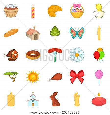 Paschal icons set. Cartoon set of 25 paschal vector icons for web isolated on white background