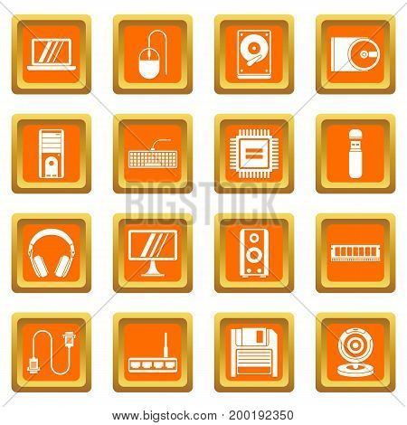 Computer icons set in orange color isolated vector illustration for web and any design