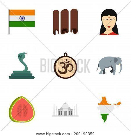 Landmarks of India icon set. Flat style set of 9 landmarks of India vector icons for web isolated on white background