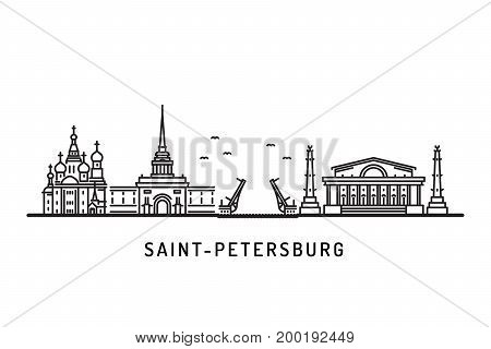 Saint Petersburg, Russia detailed skyline landmarks. Travel and tourism background. Vector illustration architectural landmarks