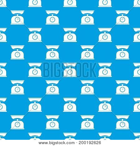 Kitchen scales pattern repeat seamless in blue color for any design. Vector geometric illustration