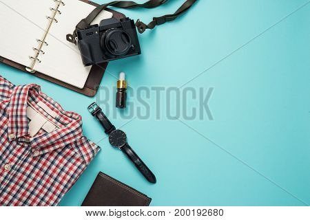Overhead view of men's casual outfits Outfits of traveler