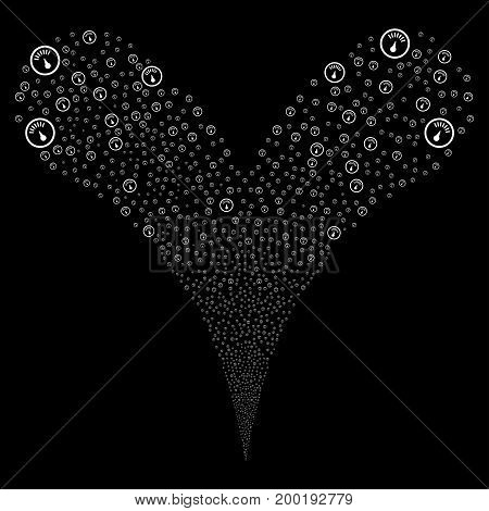 Gauge explosive stream. Vector illustration style is flat white iconic gauge symbols on a black background. Object fountain made from random pictograms.