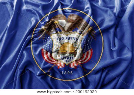 Ruffled waving United States Utah flag national