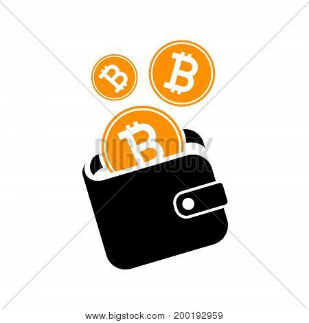 bitcoin wallet icon sign  digital currency. vector illustration