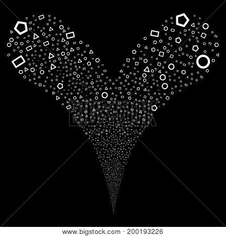 Geometric Shapes fireworks stream. Vector illustration style is flat white iconic geometric shapes symbols on a black background. Object fountain created from random symbols.