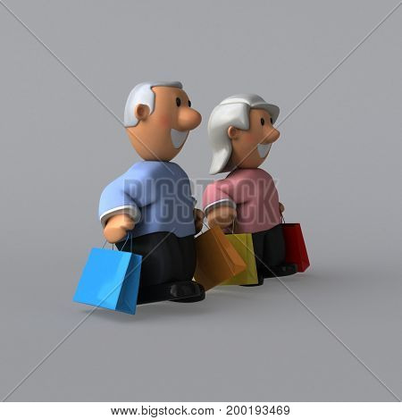 Old couple - 3D Illustration