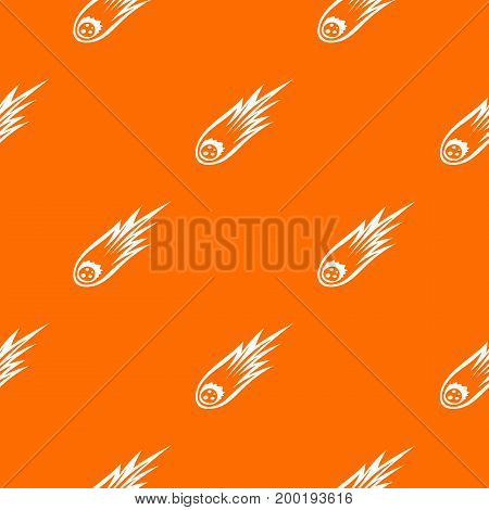 Falling meteor with long tail pattern repeat seamless in orange color for any design. Vector geometric illustration