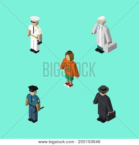 Isometric Person Set Of Detective, Lady, Officer And Other Vector Objects